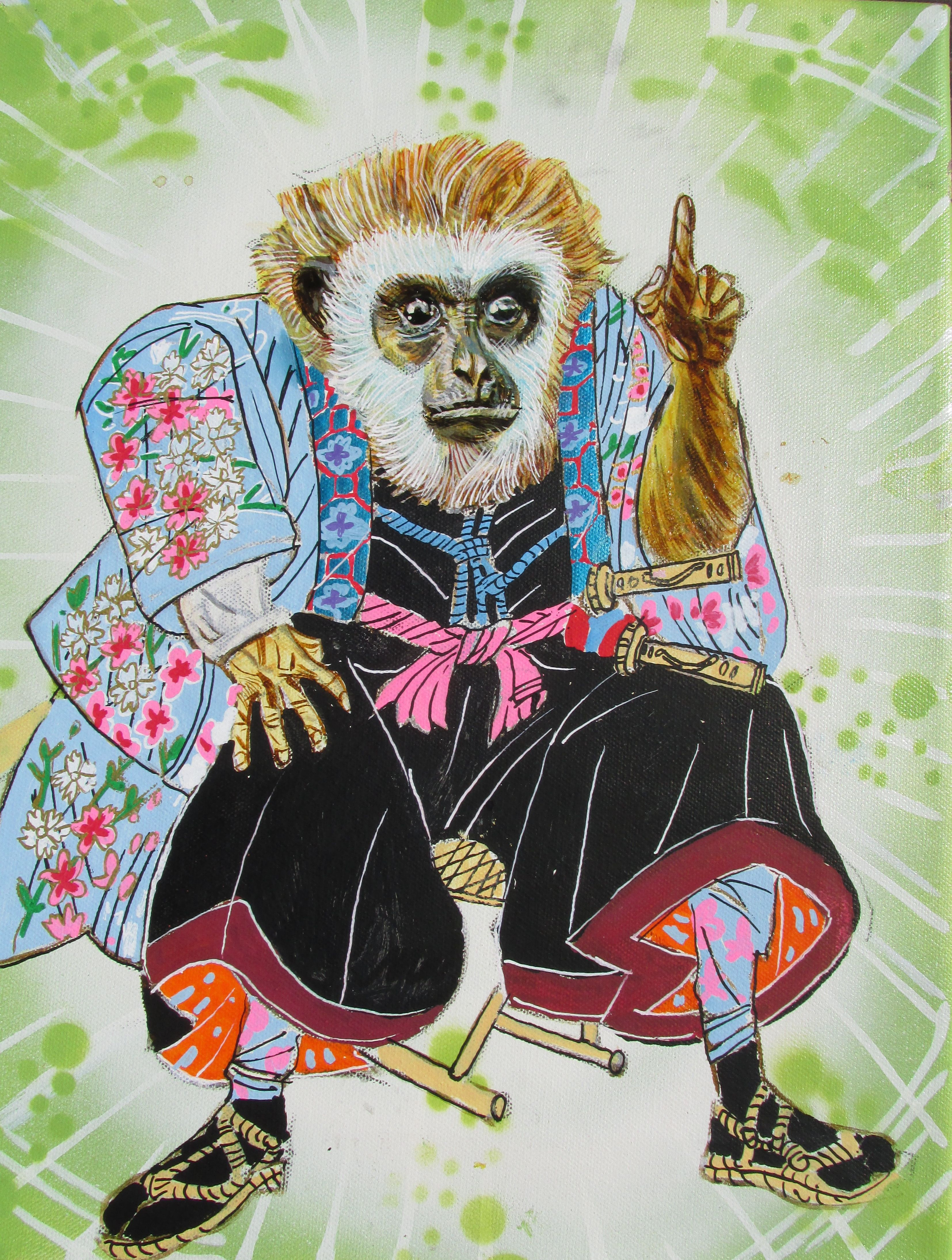 """Monkey Scholar - A small 11""""x14"""" painting on canvas."""